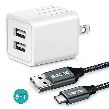 Amazon.com: Cargador de pared USB de 2,1 A con USB C de 5.9 ...