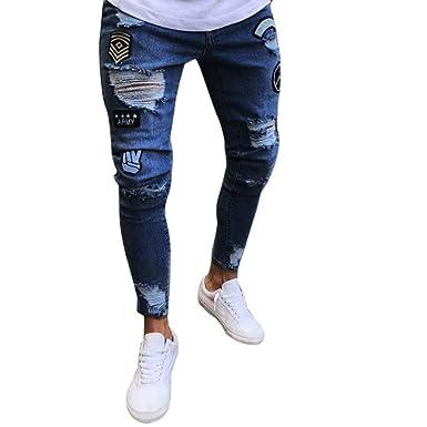 Hose Herren Sommer LHWY Männer Slim Biker Reißverschluss Jeans Skinny  Ausgefranste Lange Hosen Distressed Mode Lässig 69e6f2cff3