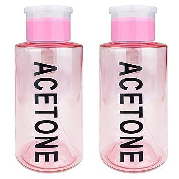 dcc369bfb5eb PANA Brand 10oz. (Quantity: 2 Pieces) Acetone Labeled Liquid Push Down Pump  Dispenser Bottle (PINK)