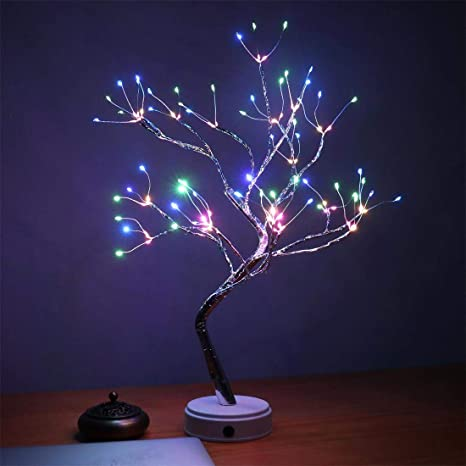 AMARS 20 Inch Bonsai Tree Night Lights Bedroom Living Room 108 LED Table Desk Lamp Decoration, Colored, Ideal as Home Gift, BatteryUSB Powered, Touch