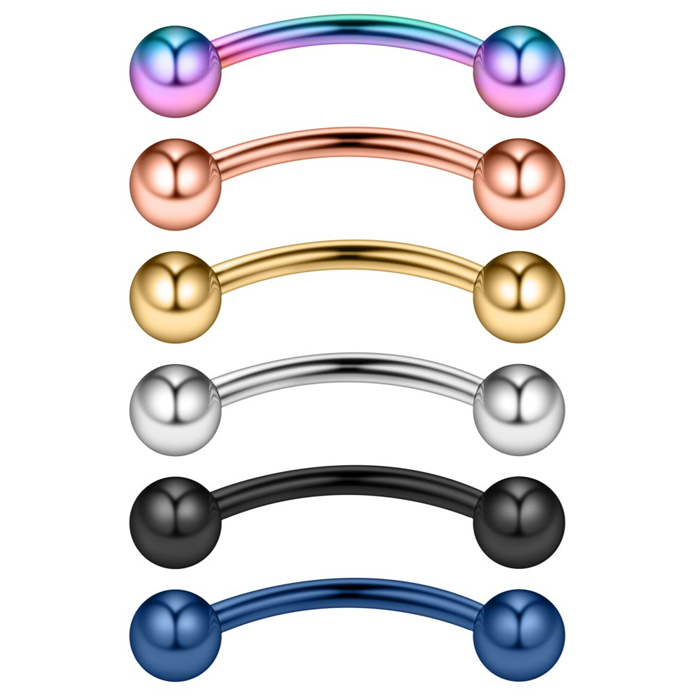Ruifan 14G 14mm Surgical Steel Eyebrow Snake Eyes Tongue Navel Belly Ring Body Piercing Jewelry 2-6PCS MD00110