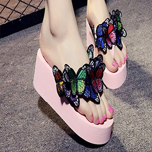 Wedge Flip Summer Sandal Blue on Flop Pink Bow Tie JULY Thong Fashion Ladies Tropical Womens Butterfly Slip Beach T Slipper U0w7Zq