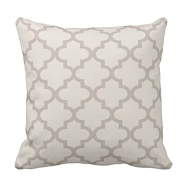 Emvency Throw Pillow Cover Patterned Moroccan Quatrefoil Pattern Beige and Trellis Decorative Pillow Case Home Decor Square 18 x 18 Inch Pillowcase