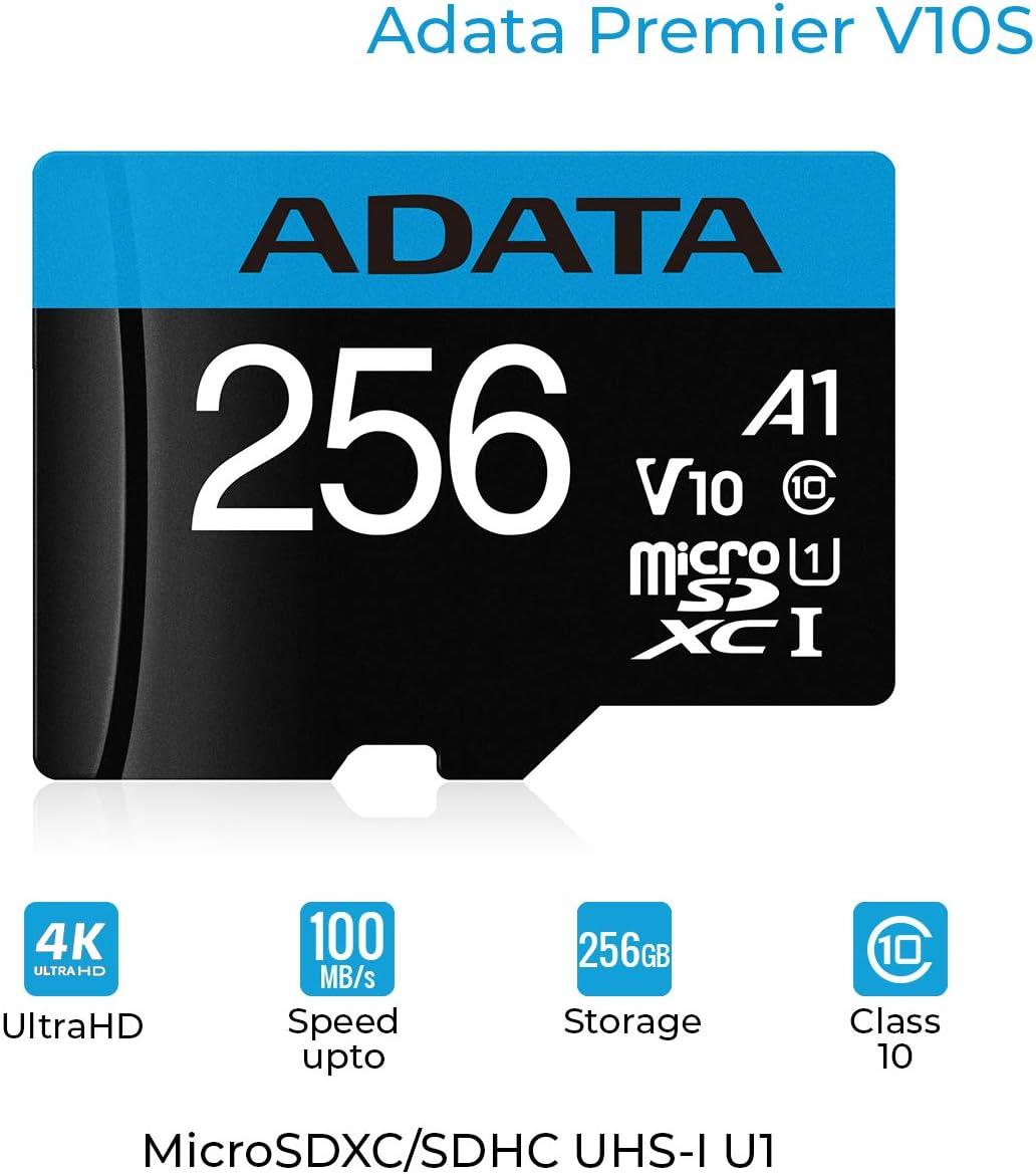 ADATA Premier Memoria Flash 256 GB MicroSDXC Clase 10 UHS-I - Tarjeta de Memoria (256 GB, MicroSDXC, Clase 10, UHS-I, 100 MB/s, Negro): Amazon.es: Informática
