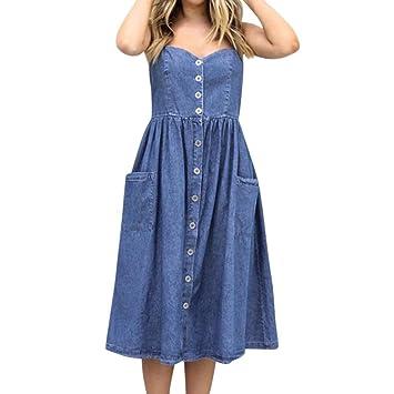 5f75693688d Janly® Sundress Woman Denim Midi Swing Dress Ladies Summer Strappy Button  Pockets Dresses (S