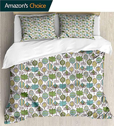 VROSELV-HOME Kids Quilt 3 Piece Bedding Set,Box Stitched,Soft,Breathable,Hypoallergenic,Fade Resistant Bedding Sets,1 Duvet Cover,2 Pillowcase-Doodle Modern Scribble Leaves (87