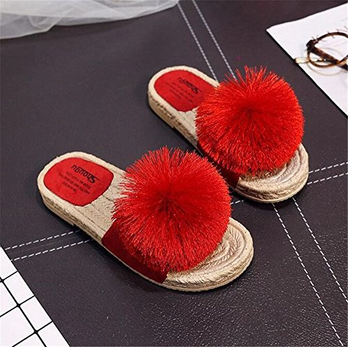 Slip FORTUN Flat Sandals Cute Slippers Non Red Women Rope Ball Woven Wool Bottom Hemp w7qBS