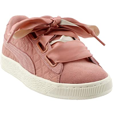 8feabf398a16ba PUMA Womens Suede Heart Quilt Casual Athletic   Sneakers Burgundy