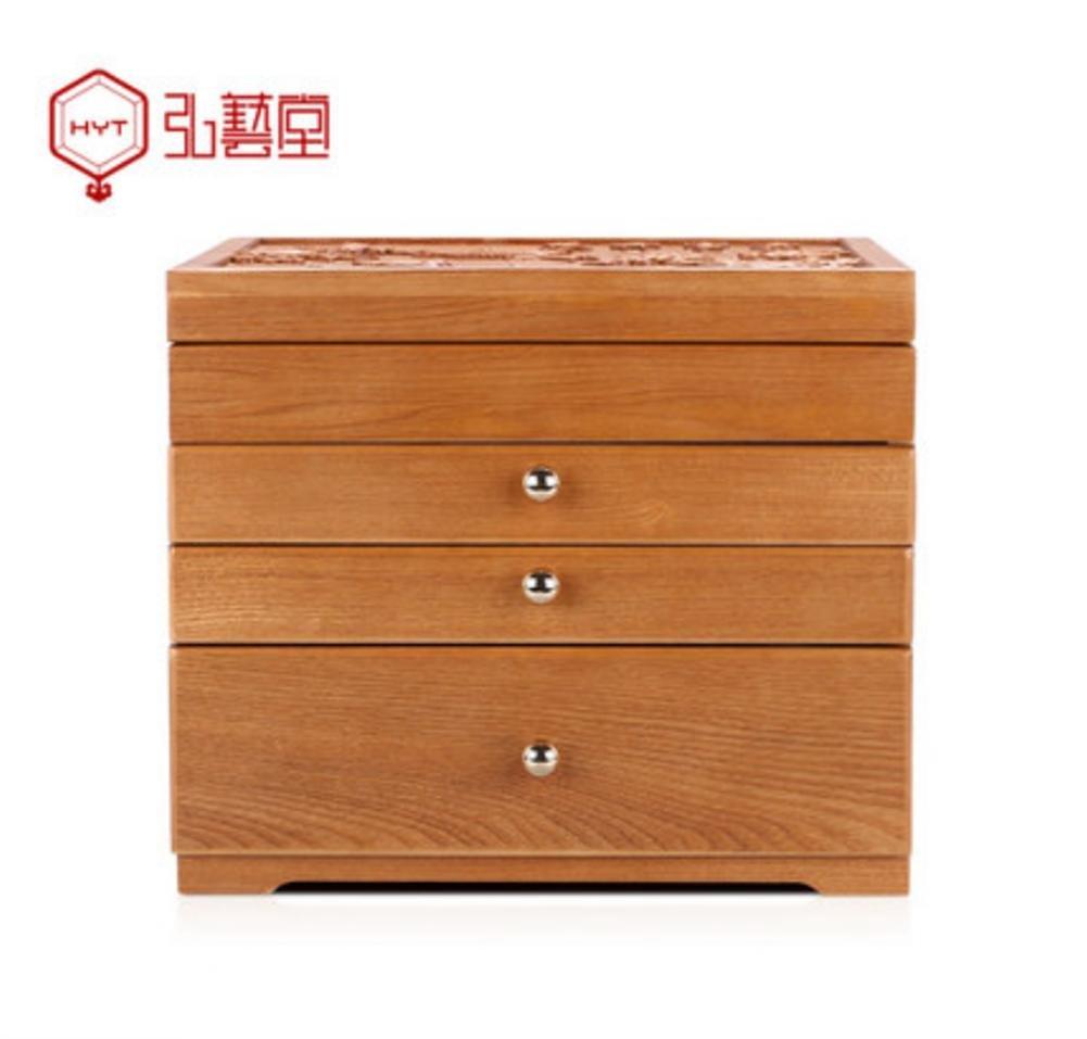 LUCKYYAN Retro fine Emboss Solid Wood Jewelry Box Necklace Storage Box Multifunctional Storage Box for Wedding Birthday Gifts , c , 2#