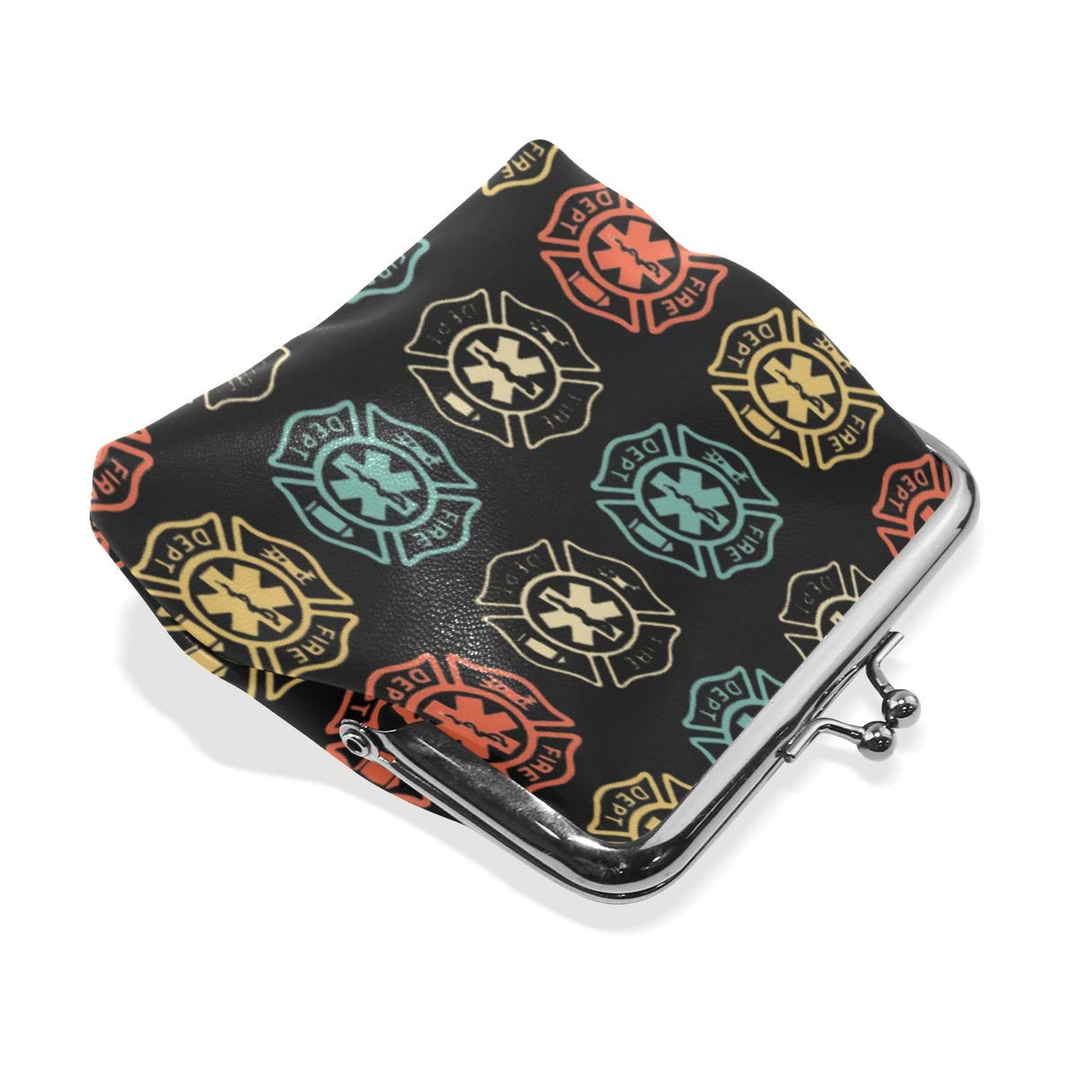 Firefighter EMT Gift Coin Purse Buckle Vintage PU Pouch Kiss-lock Wallet for Women Girl