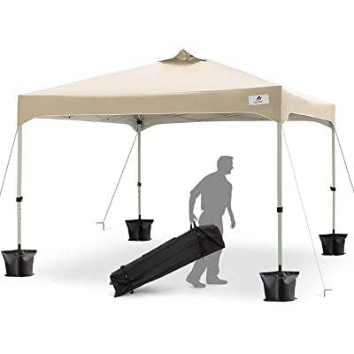 FinFree 10x10 FT Compact Ez Pop up Canopy Tent Outdoor, Folding Canopy Tent, Instant Canopy with Wheeled Carry Bag, Beige : Garden & Outdoor