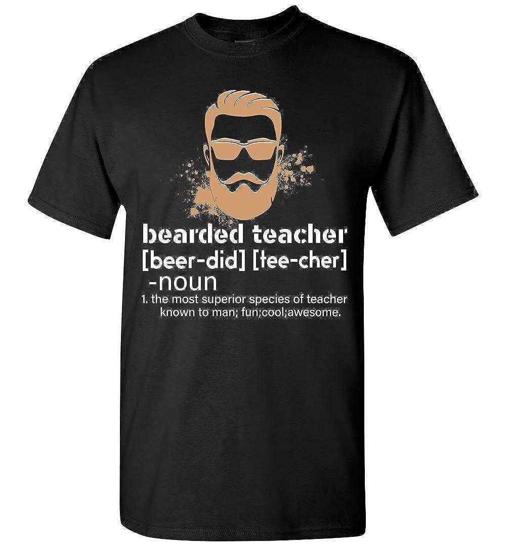 shopdoz Funny Beard Teacher Shirt Teacher Appreciation T-Shirt