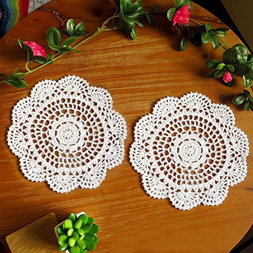 TideTex 6Pc Handmade Hollow Out Lace Crochet Vintage Floral 8
