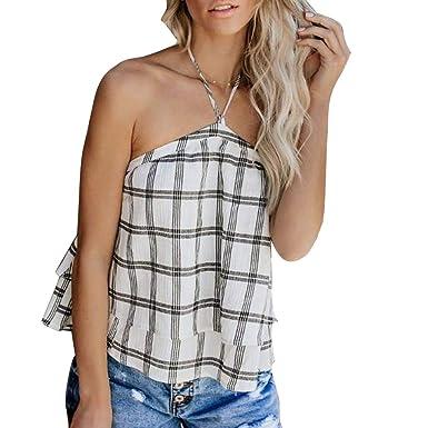 0334f3a225 Amazon.com: Amlaiworld Fashion Women Tops Halter Tube Tops Summer Vest  Sleeveless Plaid Backless Casual Tank Tops Loose Camisole Shirt: Clothing