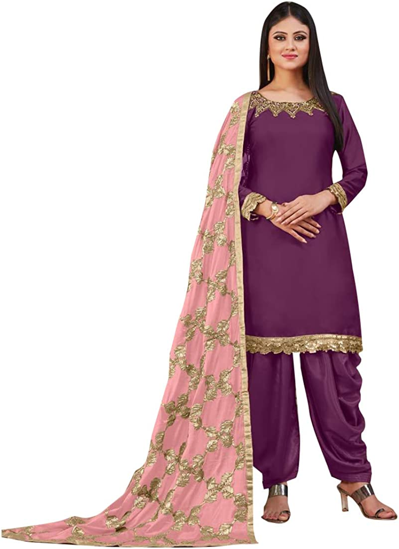 Amazon Com Purple Ethnic Party Wear Tanchoi Satin Patiala Salwar Kameez Punjabi Suit Indian Women Dress 8442 Clothing