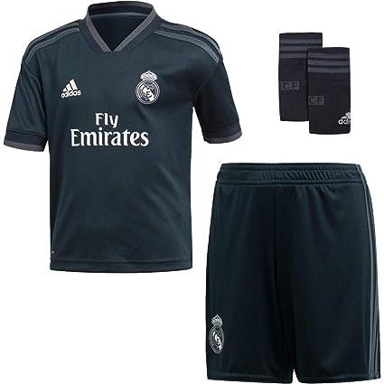 adidas Real Madrid 2018/2019 Camiseta y Pantalón 2ª Equipación, Niños, Negro,