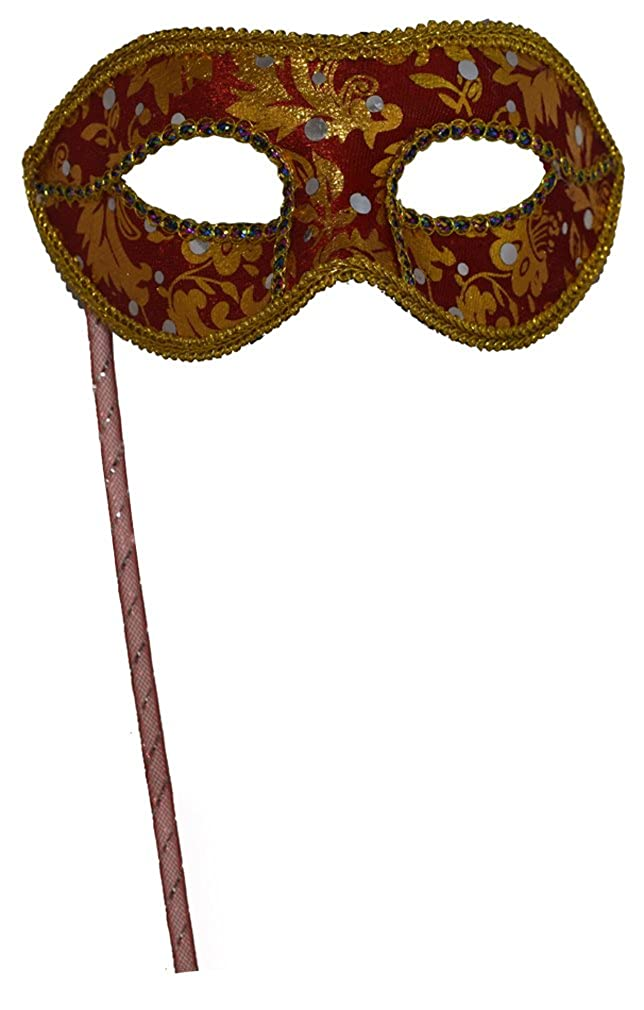 Man's Christmas Halloween New Year Party Black White Plastic Half-face Masquerade Mask on Stick