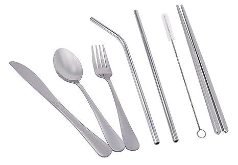 Amazon.com: KINGSUPER Juego de 7 utensilios portátiles de ...