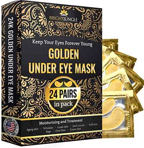 BrightJungle Under Eye Collagen Patch, 24K Gold Anti-Aging Mask, Pads for Puffy Eyes & Bags, Dark Circles and Wrinkles, with Hyaluronic Acid, Hydrogel, Deep Moisturizing Improves elasticity, 24 Pairs