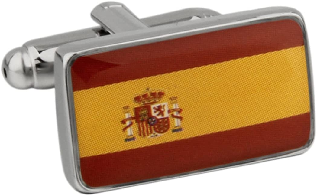 MRCUFF Flag Spain Pair Cufflinks in a Presentation Gift Box & Polishing Cloth