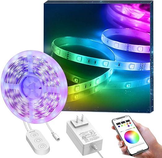 Minger Led Strip Lights Music Sync 16 4ft Color Changing Light Strip Bluetooth App Control Smd 5050 Waterproof Rgb Led Tape Lights For Dorm Room Bar