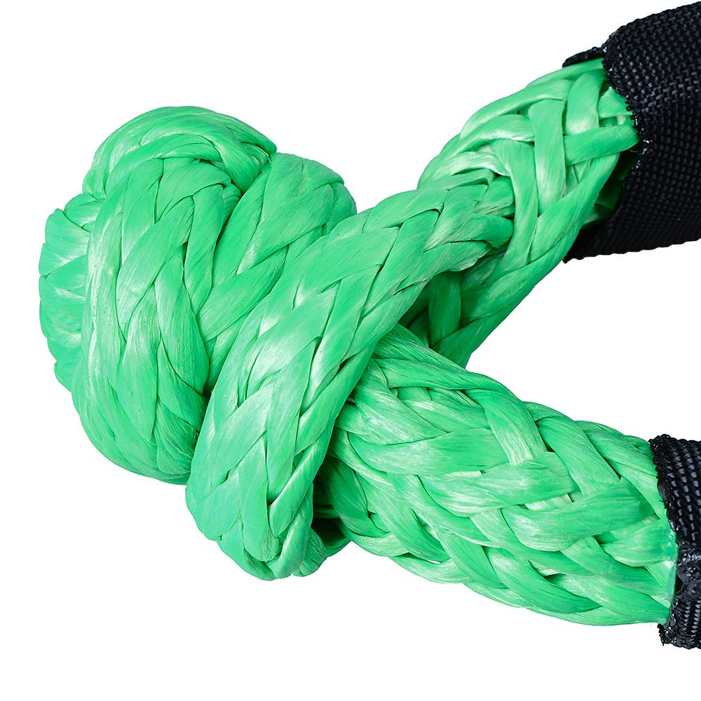 Anzios 2PCS Green Synthetic Soft Shackle Rope with Protective Sleeve Working Load Limit 15,000 LBS 38,000 LBS Breaking Strength Max