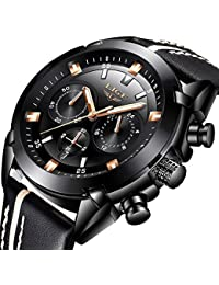 Mens Watches,LIGE Chronograph Waterproof Sports Military Analog Quartz Watch Gents Big Face Leather Fashion Casual Dress Wrist Watch Black