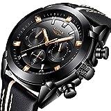 Mens Watches,LIGE Chronograph Waterproof Sports Military Analog Quartz Watch Gents Big Face Leather Fashion Casual Dress Wrist Watch Black