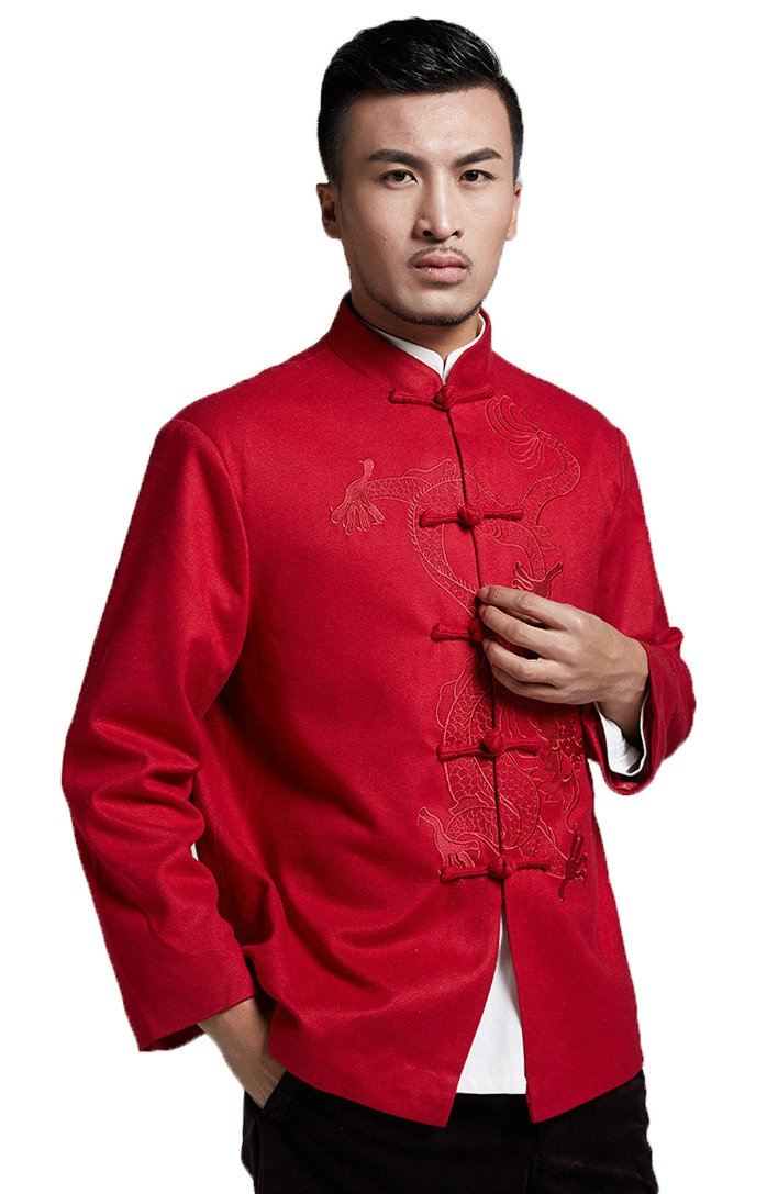 ezShe Mens Dragon Embroidery Tang Suit Mandarin Collar Long Sleeve Coats, Red L by ezShe