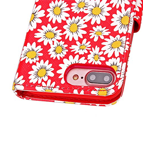 iPhone 7 Plus Hülle,iPhone 7 Plus Case, Apple iPhone 7 Plus Leder Wallet Tasche Brieftasche Schutzhülle,Cozy Hut ® Blühende Chrysantheme Muster PU Lederhülle Flip Hülle im Bookstyle Cover Schale Stand