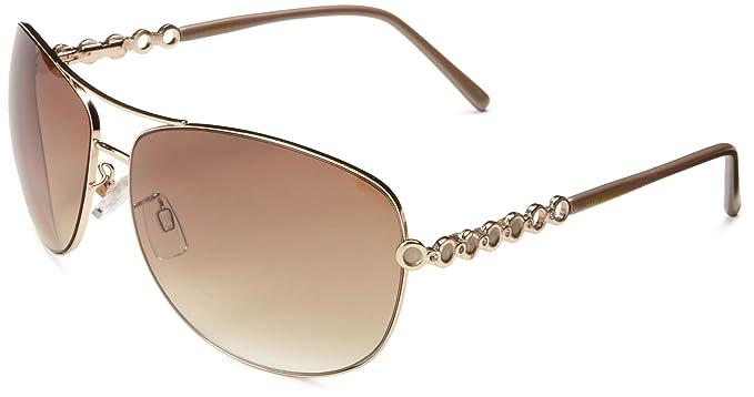 Amazon.com: Steve Madden Women\'s S5139 Aviator Sunglasses,Gold,65 mm ...
