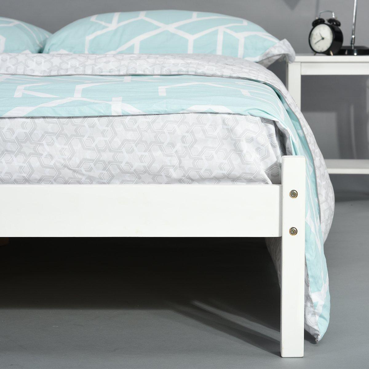 Innovareds natur robust massiv kiefernholz 4 ft6 queen bed side bed frame wei/ß