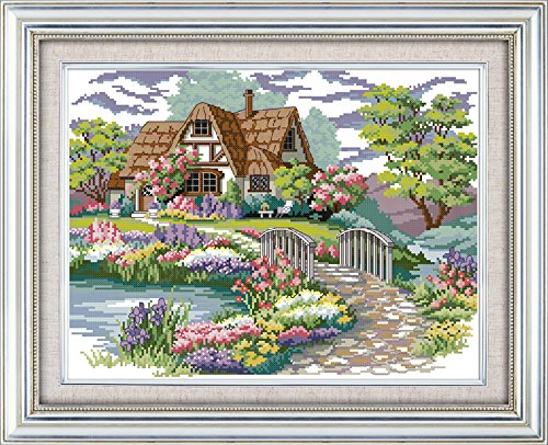 "Joy Sunday Stamped Cross Stitch Kits – Counted Cross Stitch Kit, Cross-Stitching Patterns Dream House Country 14CT Pre-Printed Fabric – DIY Art Crafts & Sewing Needlepoints Kit for Home Decor 17""x13"