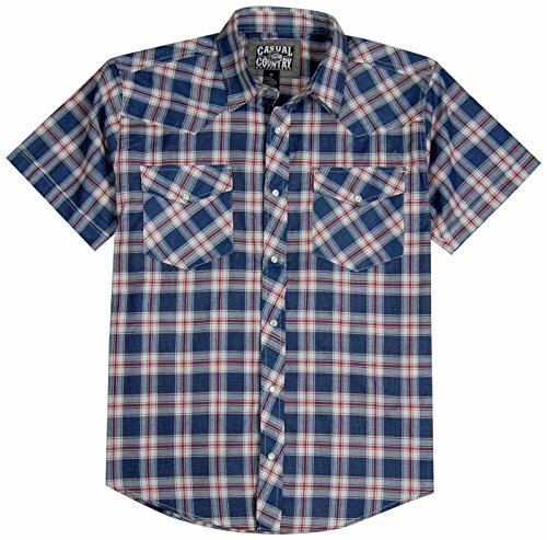 Men's Classic Plaid Short Sleeve Casual Western Shirt; Pearl Snap Front (X-Large, Flag) (Plaid Flannel Western Shirt)