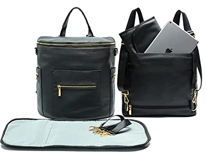 Leather Diaper Bag Backpack by Miss Fong