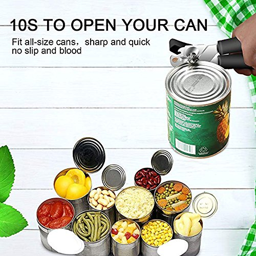 Can Opener, Manual Can Opener Smooth Edge with Sharp Stainless Steel Comfortable Ergonomic Handle by Muoam (Image #5)'