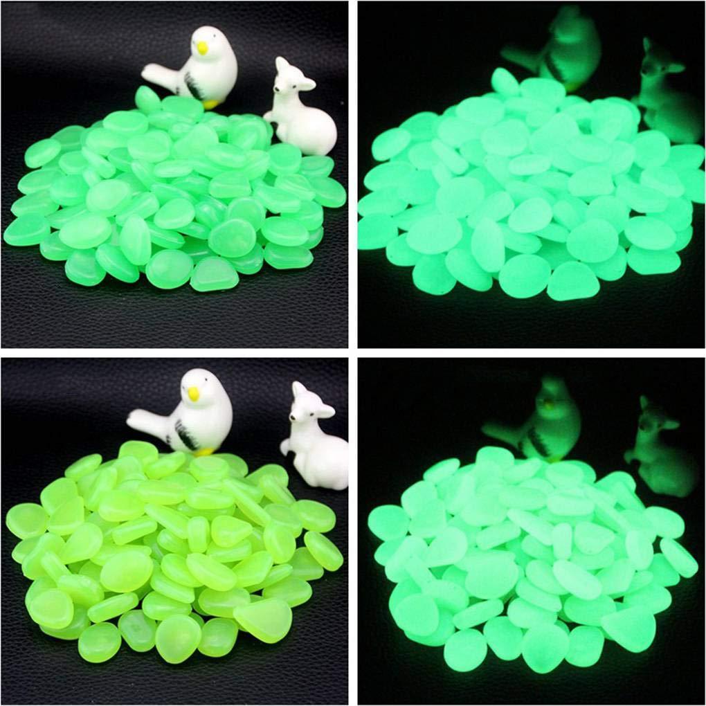 Fangfeen 100pcs Fish Tank Fluorescent Pebble Jardin Parterre D/écor Glow Pierre Aquarium Ornement Marbles Rocks