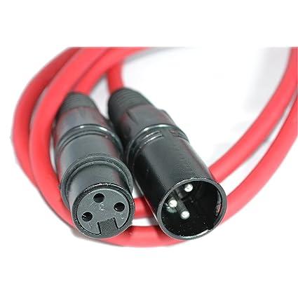 Equilibrado XLR Micrófono Cable Masculino A Femenino Audio Cable Rojo 1,5 m