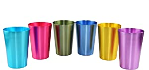 HOME-X Colorful Aluminum Drinking Cups Set of 6, Colored Metal Tumblers, Shatter Resistant, Stackable, 6 Metallic Colors- 12 Ounces