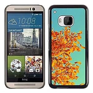 Be Good Phone Accessory // Dura Cáscara cubierta Protectora Caso Carcasa Funda de Protección para HTC One M9 // Autumn Yellow Orange Leaves Tree Branch