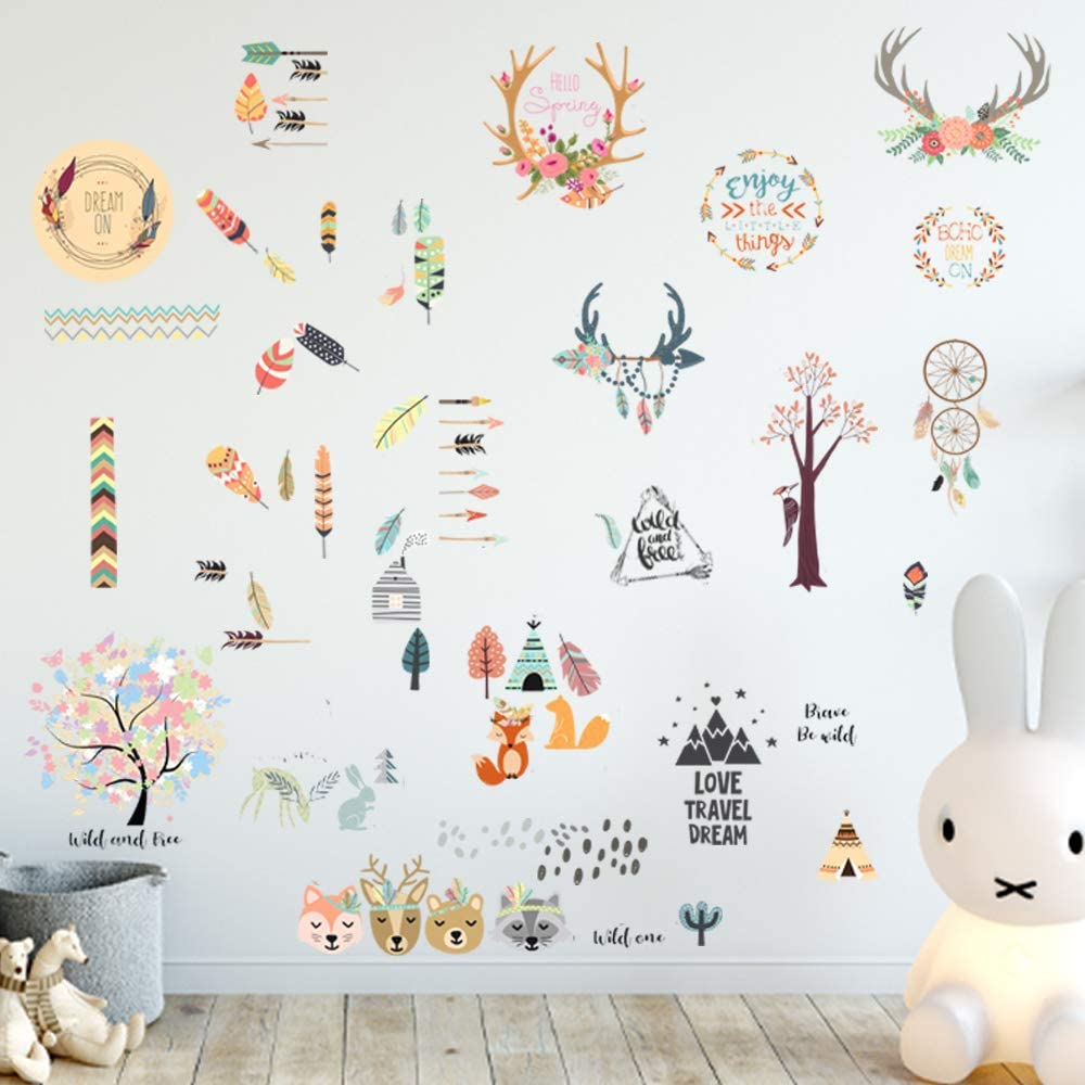 Boho Room Décor Adhesive Wall Decals - JesPlay Wall Décor Stickers Include Wall Decals of Boho Style, Dreamcatcher, Flowers & More - Removable Wall Decor for Bedroom, Living Room, Nursery, Classroom