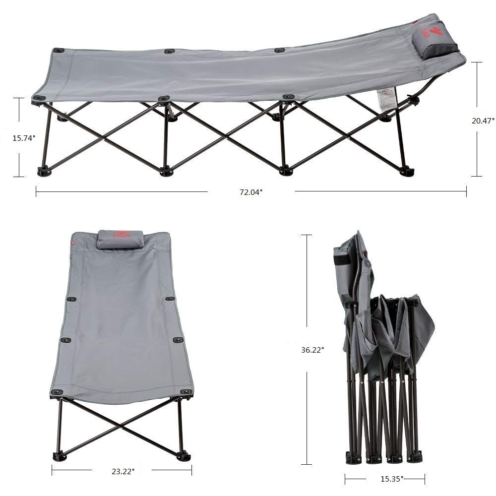 Collapsible Camp Cot for Adults Traveling and Home Lounging Side Pocket Yolafe Folding Camping Cot Portable with Carry Bag Pillow