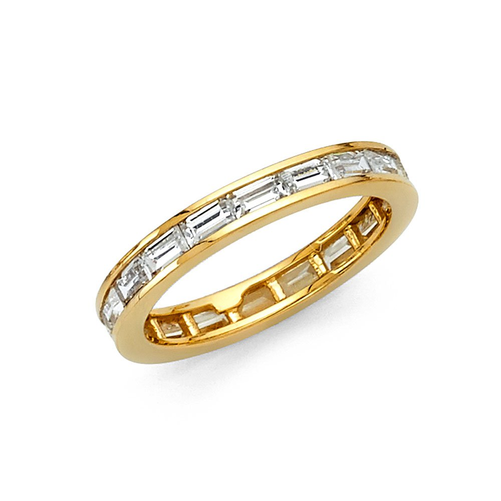 FB Jewels 14k Yellow Gold Baguette Channel Set Cubic Zirconia CZ 3mm Eternity Anniversary Wedding Ring Band 3/4 CTTW -Size 7