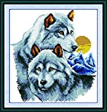 Good Value Cross Stitch Kits Beginners Kids Advanced - The Wolf Partners 16''X17'', DIY Handmade Needlework Set Cross-Stitching Pre-printed Patterns Embroidery Home Decoration