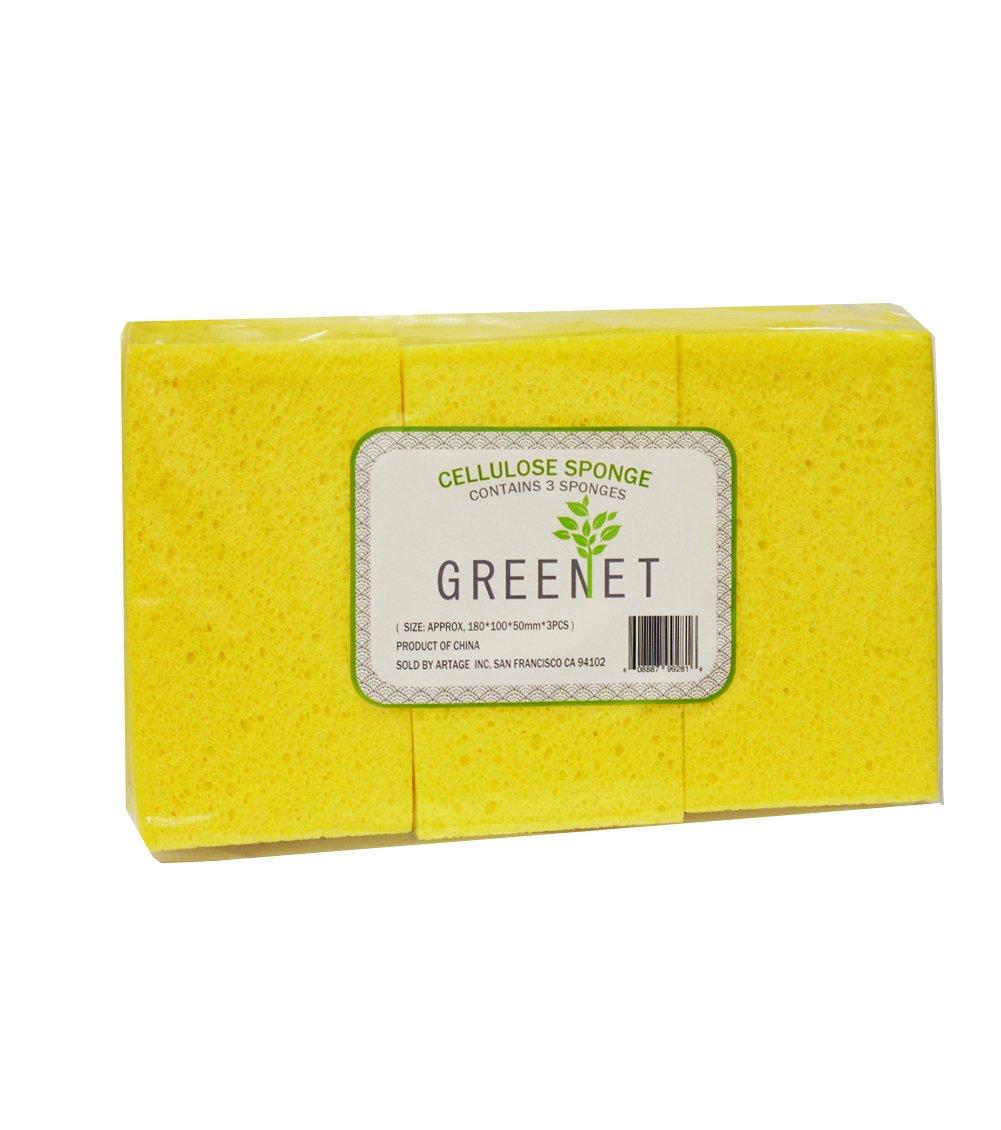 altura 1,9/pulgadas 3/pcs por paquete Amarillo ancho 3,9/cm Grande esponja de celulosa longitud 7,5/cm