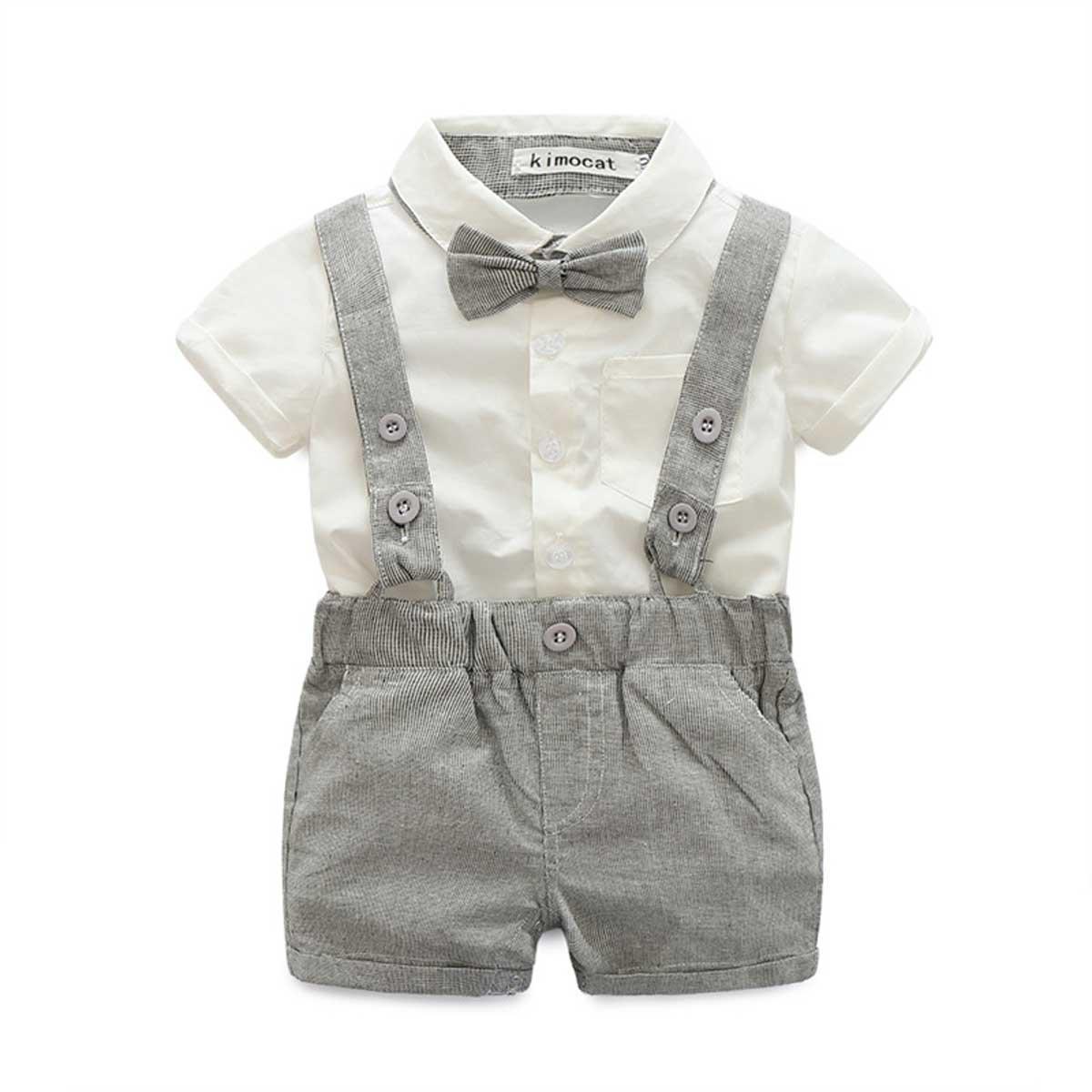 E.life Traje de bebé niño 2pcs caballero camiseta Top tirantes Strap Shorts Bowtie formal de niños traje de fiesta ropa conjuntos (Gris, 80:6-12m)