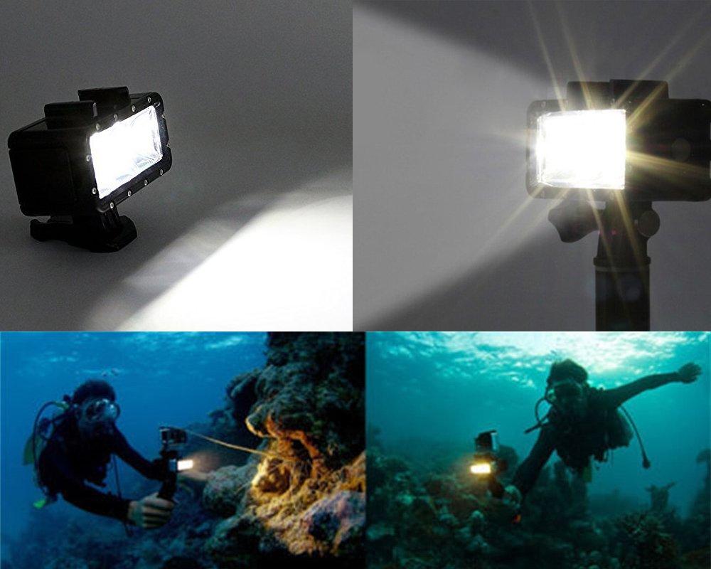 SJCAM ADIKA 40m Waterproof Light Wide Angle Light LED Underwater Light for Gopro Light Spot Flood Light for Gopro Lighting for Gopro Dive Light for GoPro Hero 2018 Hero 6 Hero 5 Hero 4 Hero 3 Hero 3