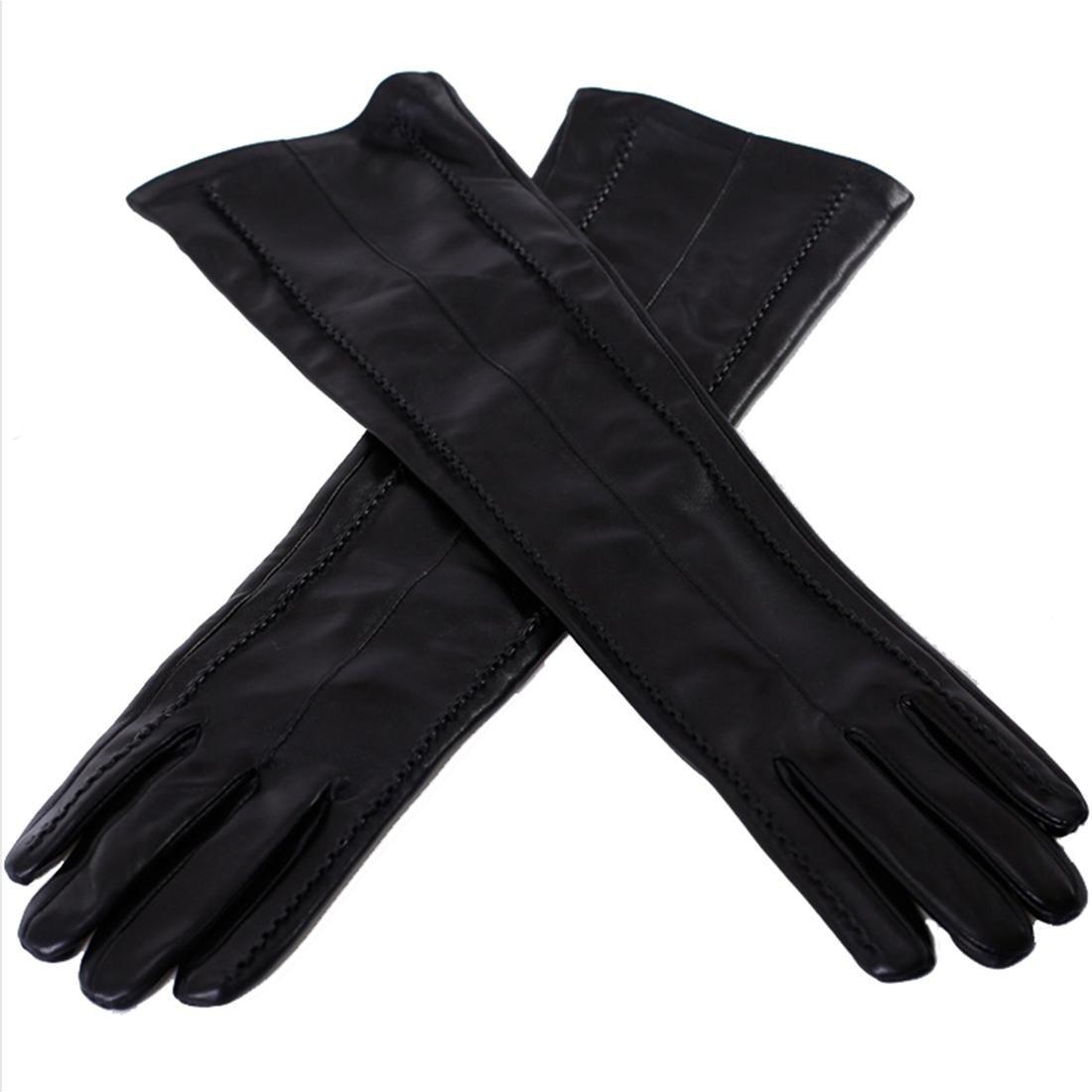 Lady Long Guanti Autunno e inverno caldo più guanti di cuoio in cashmere Nero , xl