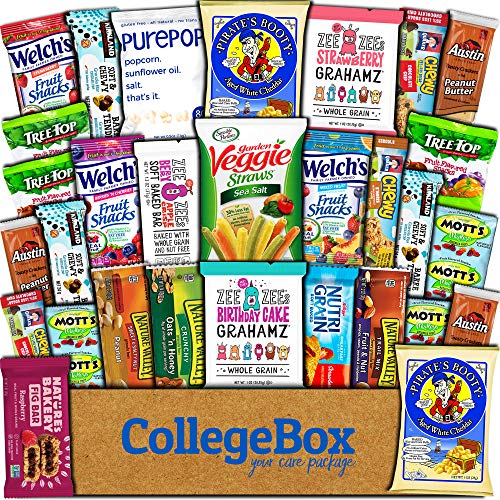 CollegeBox Healthy Care Package (30 Count) Natural Bars Nuts Fruit Health and Nutritious Snacks Variety Gift Box Pack Assortment Basket Bundle Mix Sampler College Finals Students Office Trips Summer