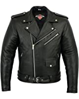 Mens Brando Style Motorcycle / Motorbike Cowhide Leather Jacket In Black Sizes M-5XL
